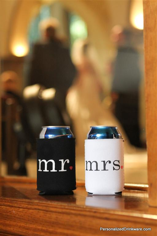 Bride and Groom koozies at a wedding party