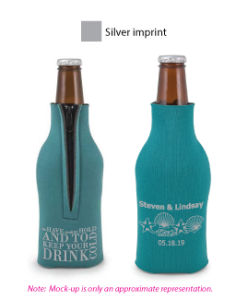 A perfect favor for your special day.   These neoprene zipper up bottle coolie can be customized to fit your colors and theme.