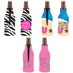 Full Color Bottle Coolie - Zipper Up
