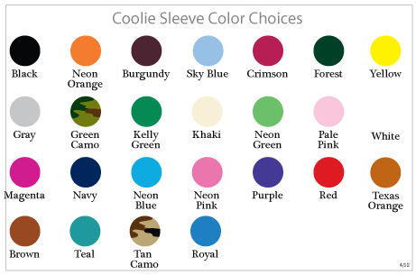 Wedding Koozie Color Chart