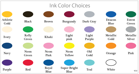 Wedding Koozie Ink Color Chart